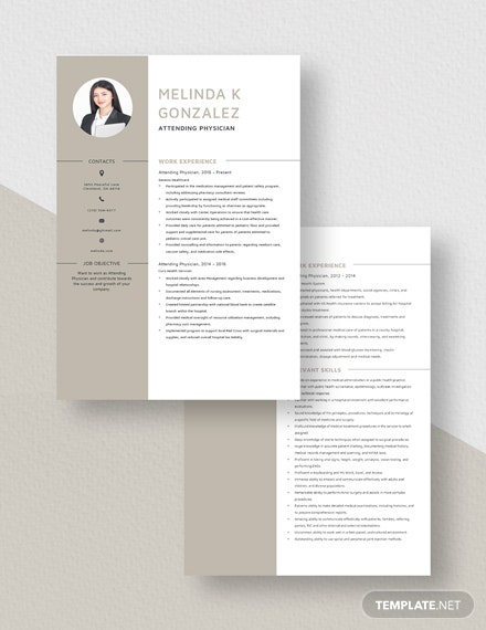 Attending Physician Resume Download