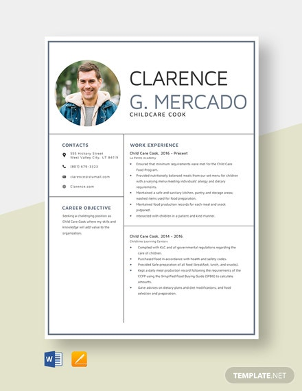 Child Care Cook Resume Template
