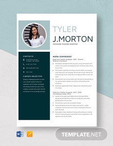 Child Care Teacher Assistant Resume Template