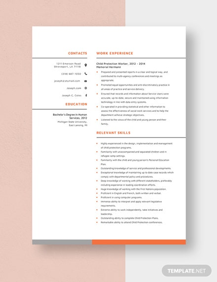 Child Protection Worker Resume Template
