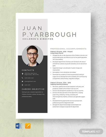 Children's Director Resume Template