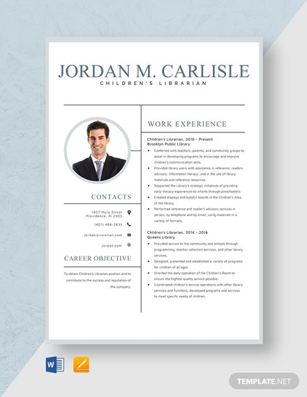 Children's Librarian Resume Template