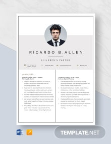 Children's Pastor Resume Template