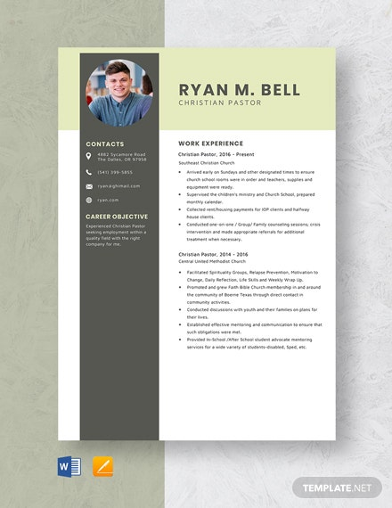 Christian Pastor Resume Template