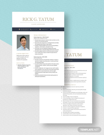 Claims Supervisor Resume Download