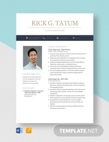 Claims Supervisor Resume Template