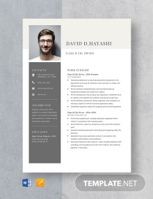 Class B CDL Driver Resume Template