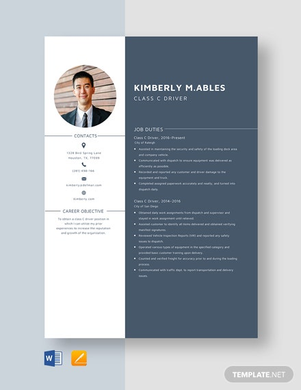 Class C Driver Resume Template