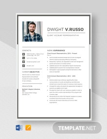Client Account Representative Resume Template