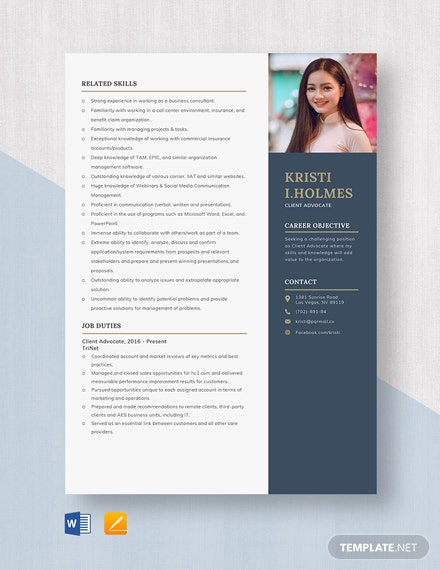 Client Advocate Resume Template