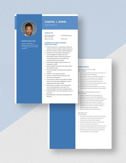 Client Associate Resume Download