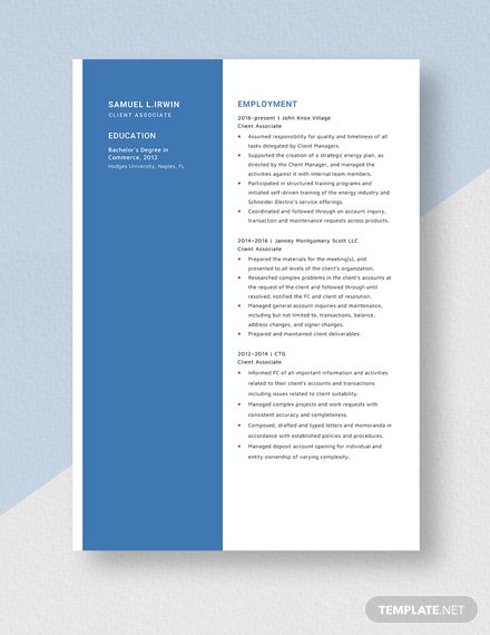 Client Associate Resume Template