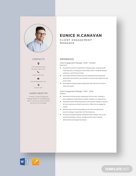 Client Engagement Manager Resume Template