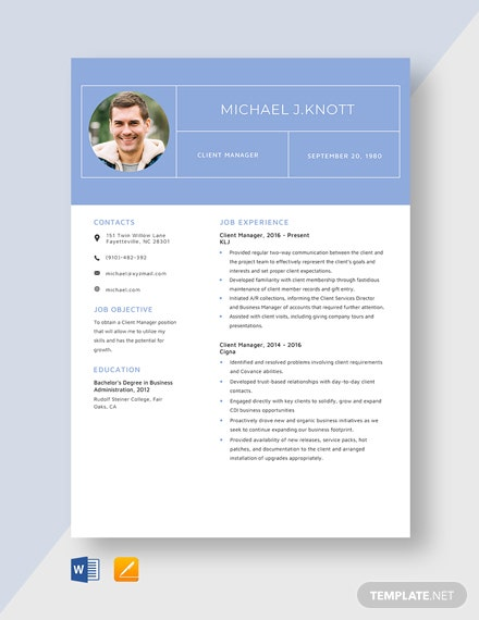 Client Manager Resume Template