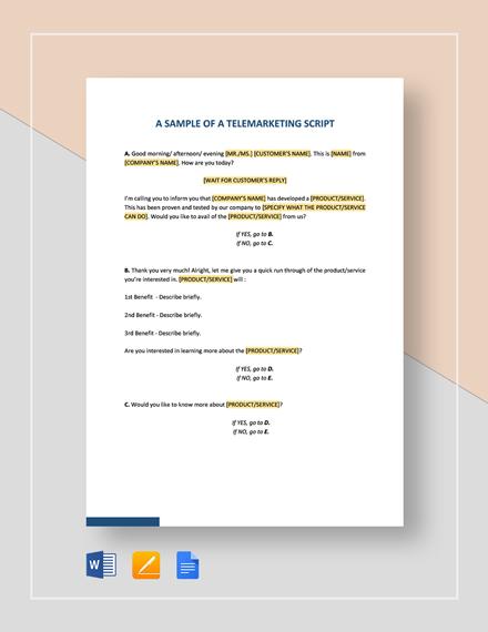 Script Sample Template