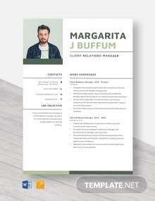 Client Relations Manager Resume Template