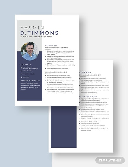 Client Relations Executive Resume Download
