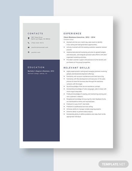 Client Relations Executive Resume Template