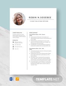 Client Relations Officer Resume Template