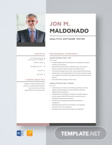 Analytics Software Tester Resume Template