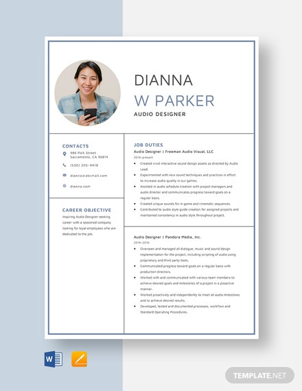 Audio Designer Resume Template
