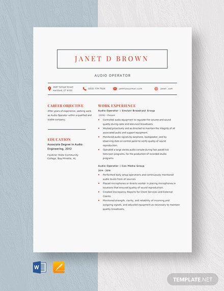 Audio Operator Resume Template