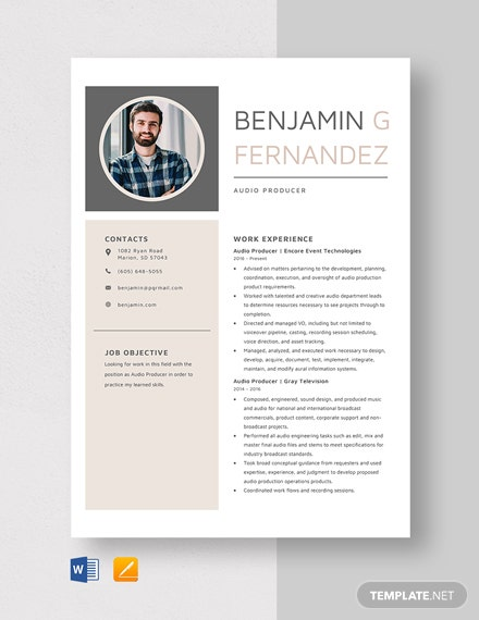 Audio Producer Resume Template
