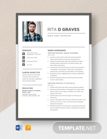 Audio Visual Technician Resume Template