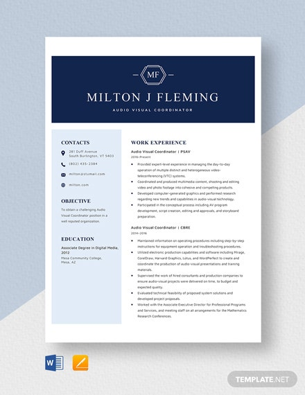 Audio Visual Coordinator Resume Template