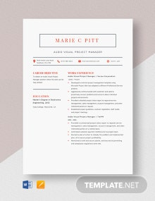 Audio Visual Project Manager Resume Template