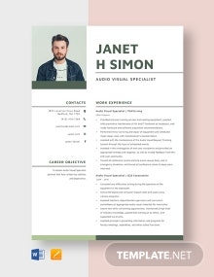 Audio Visual Specialist Resume Template