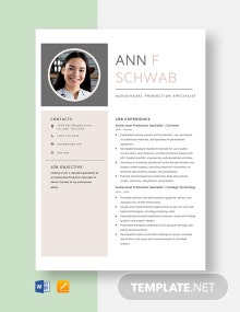 Audiovisual Production Specialist Resume Template
