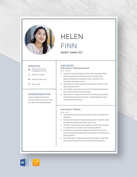 Audit Analyst Resume Template - Word (DOC) | Apple (MAC ...