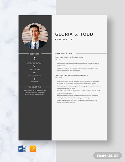 Care Pastor Resume Template