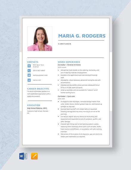 Care Taker Resume Template