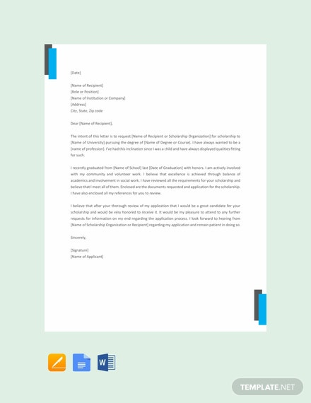 Free Scholarship Request Letter Template