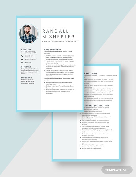 Career Development Specialist Resume Download