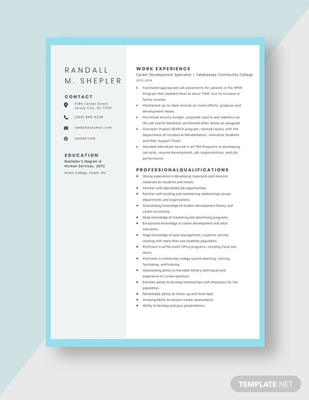 Career Development Specialist Resume Template