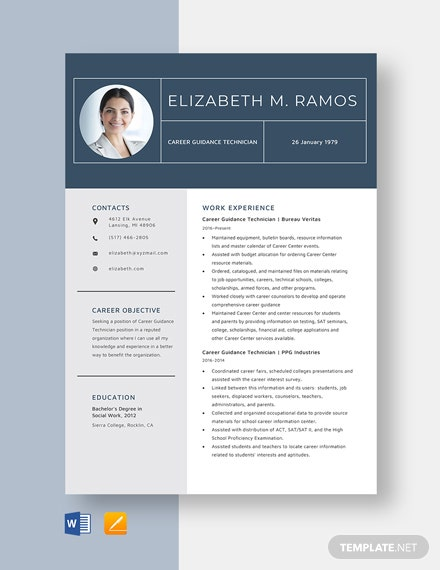 Career Guidance Technician Resume Template