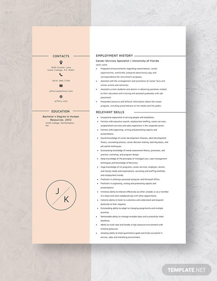 Career Service Specialist Resume Template