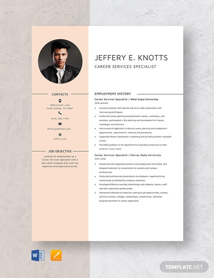 Career Service Specialist Resume Template