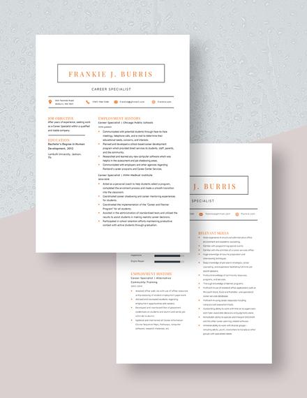 Career Specialist Resume Download