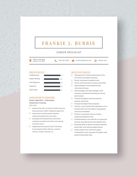 Career Specialist Resume Template