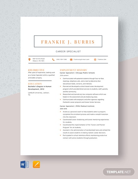 Career Specialist Resume Template