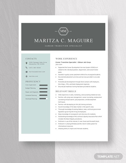 Career Transition Specialist Resume Template