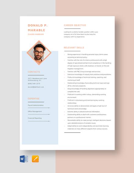 Claim Handler Resume Template