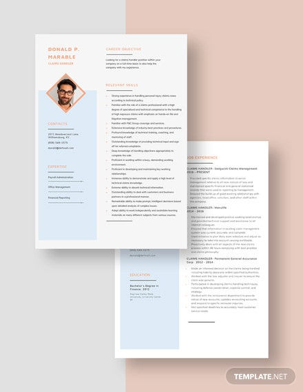 Claim Handler Resume Download