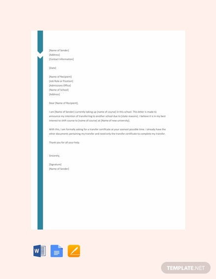 Free School Transfer Request Letter Template