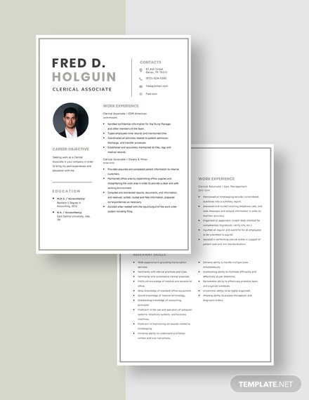 Clerical Associate Resume Download