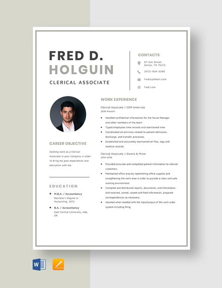Clerical Associate Resume Template